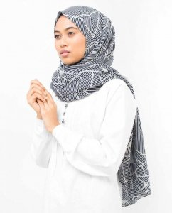 Abstract Striped Bomull Voile Hijab - Silk Route 5A411a