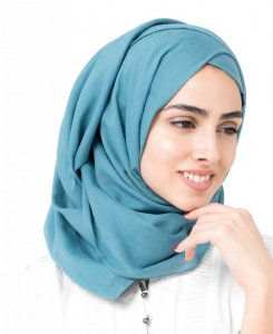 Aegean Turquoise Cotton Voile Hijab 5TA26d