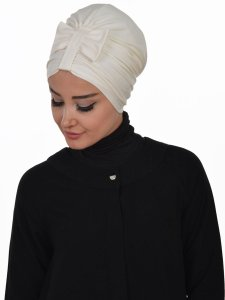 Agnes Creme Bomull Turban Cancer Krebs Ayse Turban 320608-2