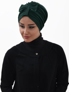 Agnes Mörkgrön Bomull Turban Cancer Krebs Ayse Turban 320614-2