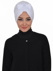 Agnes Vit Bomull Turban Cancer Krebs Ayse Turban 320612-1