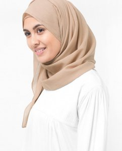 Almondine - Taupe Bomull Voile Hijab 5TA33a
