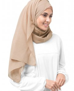 Almondine - Taupe Bomull Voile Hijab 5TA33d