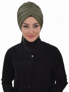 Amy Khaki Cotton Turban Ayse Turban Tasarim 320006a