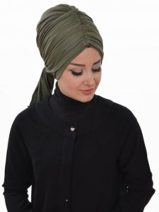 Amy Khaki Cotton Turban Ayse Turban Tasarim 320006b