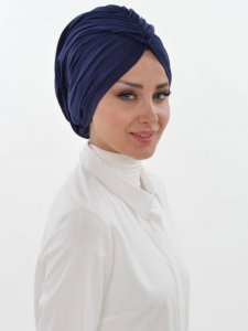 Amy Navy Blue Cotton Turban Ayse Turban Tasarim 320005a