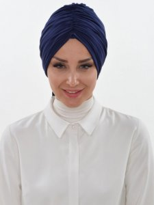 Amy Navy Blue Cotton Turban Ayse Turban Tasarim 320005b