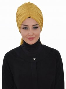 Amy Mustard Cotton Turban Ayse Turban 320010a