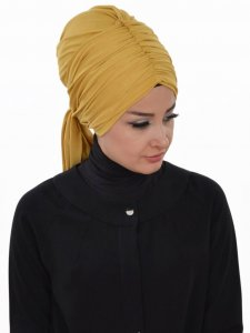 Amy Mustard Cotton Turban Ayse Turban 320010b