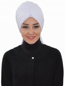 Amy White Cotton Turban Ayse Turban Tasarim 320012a