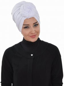 Amy White Cotton Turban Ayse Turban Tasarim 320012b
