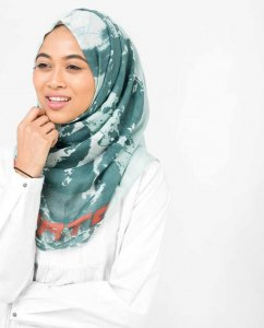 Aqua Abstract Print Viscose Hijab - Silk Route 5A404b