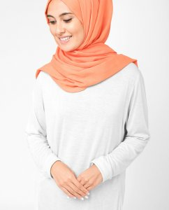 Arabesque Orange Bomull Voile Hijab 5TA13