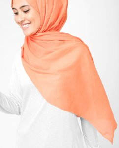 Arabesque Orange Bomull Voile Hijab 5TA13a