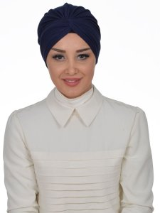 Astrid Navy Blue Cotton Turban Cancer Krebs Turban Ayse Turban 320101-1