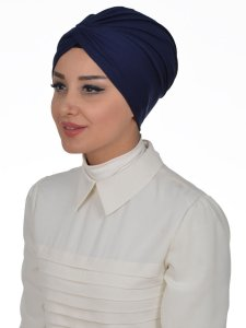 strid Navy Blue Cotton Turban Cancer Krebs Turban Ayse Turban 320101-2