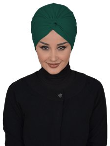 Astrid Mörkgrön Bomull Turban Cancer Krebs Ayse Turban 320414-1