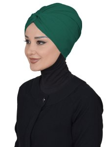 Astrid Mörkgrön Bomull Turban Cancer Krebs Ayse Turban 320414-2