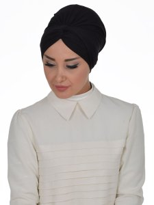 Astrid Svart Bomull Turban Cancer Krebs Ayse Turban 320406-2