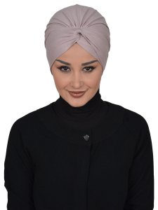 Astrid Taupe Cotton Turban Cancer Krebs Turban Ayse Turban 320402-1
