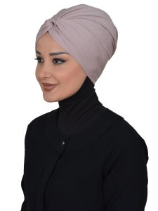 Astrid Taupe Cotton Turban Cancer Krebs Turban Ayse Turban 320402-2