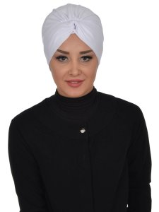 Astrid Vit Bomull Turban Cancer Krebs Ayse Turban 320412-1
