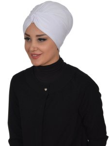 Astrid Vit Bomull Turban Cancer Krebs Ayse Turban 320412-2