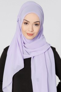 Ayla Light Purple Chiffon Hijab Shawl Scarf 300414a