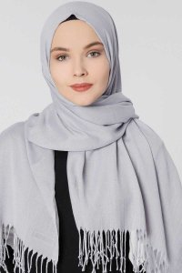 Aysel Light Grey Pashmina Hijab Gülsoy 300838a