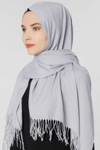 Aysel Light Grey Pashmina Hijab Gülsoy 300838b