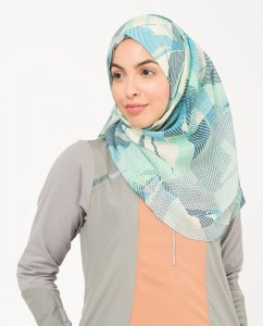 Ballard Blue - Blue & Green Viscose Hijab from Silk Route