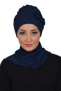 Bianca - Navy Blue Cotton Turban