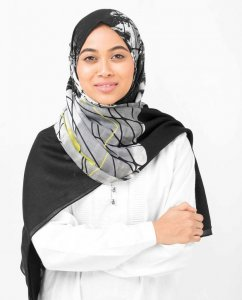 Black Abstract Print Viscose Hijab - Silk Route 5A411d