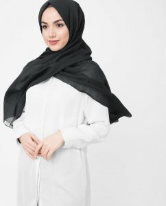 Black Night - Svart Bomull Voile Hijab 5TA40b