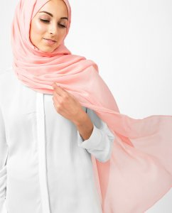 Blossom Rosa Bomull Voile Hijab 5TA6