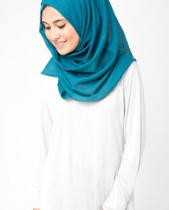 Blue Coral Petrolblå Bomull Voile Hijab 5TA18a