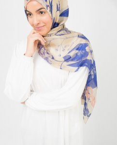 Blue Dreams Blå Blommig Hijab 5A182