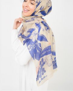 Blue Dreams Blå Blommig Hijab 5A181