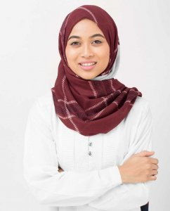 Burgundy Check Viskos Hijab - Silk Route 5A418d
