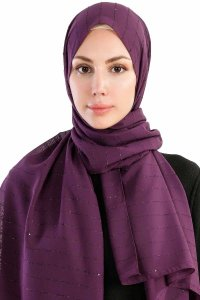 Burcu Purple Chiffon Hijab Madame Polo 130030-1
