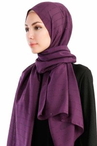 Burcu Purple Chiffon Hijab Madame Polo 130030-2