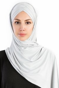 Cansu Light Grey 3X Jersey Hijab Shawl Scarf Ecardin 200928-1