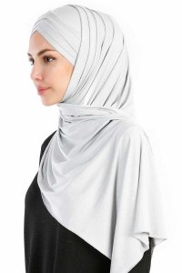 Cansu Light Grey 3X Jersey Hijab Shawl Scarf Ecardin 200928-2