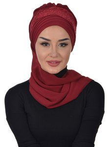 Celine Bordeaux Chiffon Turban One Piece Praktisk Ayse Turban 325307-1