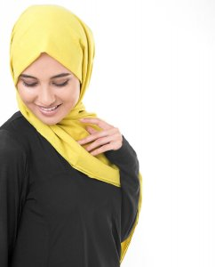 Cellery Yellow Gul Georgette Hijab5XA46b