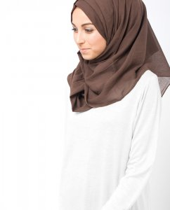Chestnut Brun Bomull Voile Hijab 5TA7a