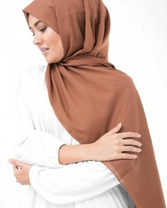 Cinnamon Stick Rost Bomull Voile Hijab InEssence Sjal 5TA75b