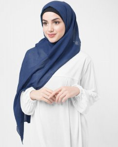 Classic Blue Blå Bomull Voile Hijab 5TA89a