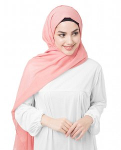 Crabapple - Korall Bomull Voile Hijab 5TA34d