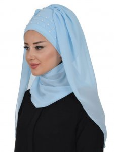 Diana Light Blue Practical Hijab Ayse Turban 326202a